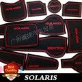 Alta Qualidade Do Carro SOLARIS Esteira do Copo/Pad para Hyundai Solaris Portão Slot Pad porta almofada luminosa Não-Slip Interior tapete pad/copo porta