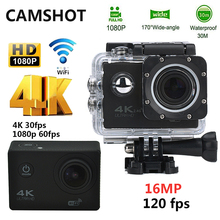 CAMSHOT Waterproof Action Camera 16MP 4K WIFI Ultra hd Diving 1080P 60PFS 2 Inch DV Helmet bicycle Cam underwater Sports Camera