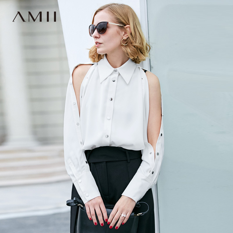 Amii Minimalist Women 2019 Spring Office Lady   Blouse   Solid Buttoned Slits Sleeve Female   Blouses     Shirts