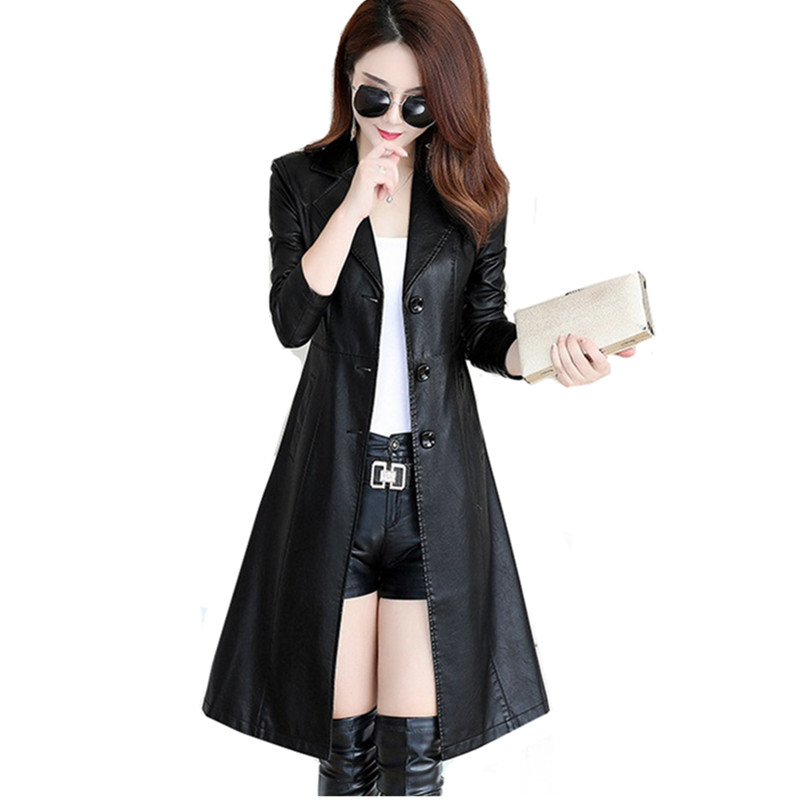 Spring Autumn Women's   Leather   Jacket Windbreaker Black Slim Elegant Long Coats Windproof Rainproof Faux Fur Coat Women Clothing