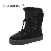 CLASSICONE women's winter shoes ankle boots genuine leather warm wool flats boots fur snow boots shoes women brand fashion style