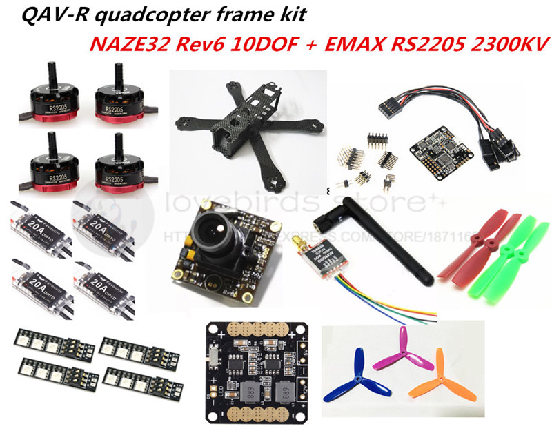 DIY FPV mini drone with camera QAV-R quadcopter 4x2x2 frame kit EMAX RS2205 + littlebee 20A ESC 2-4S + NAZE32 Rev6 10DOF +TS5828 diy mini drone fpv race nighthawk 250 qav280 quadcopter pure carbon frame kit naze32 10dof emax mt2206ii kv1900 run with 4s