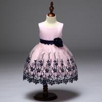 Retail High Quality Elegant Black Flower Girls Summer Girls Evening Party Dress Embroidery Girls Wedding Dress