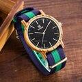 Chegada nova japonês miyota 2035 movimento relógios de pulso rare magro nylon nato relógios de madeira para os homens 2016 presentes de natal assistir