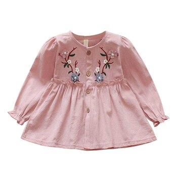 1d94e492f Vestido de princesa de otoño para niña bordado ropa infantil de manga larga  encantadora ropa de niños bebés niñas vestidos de algodón 1-4Y