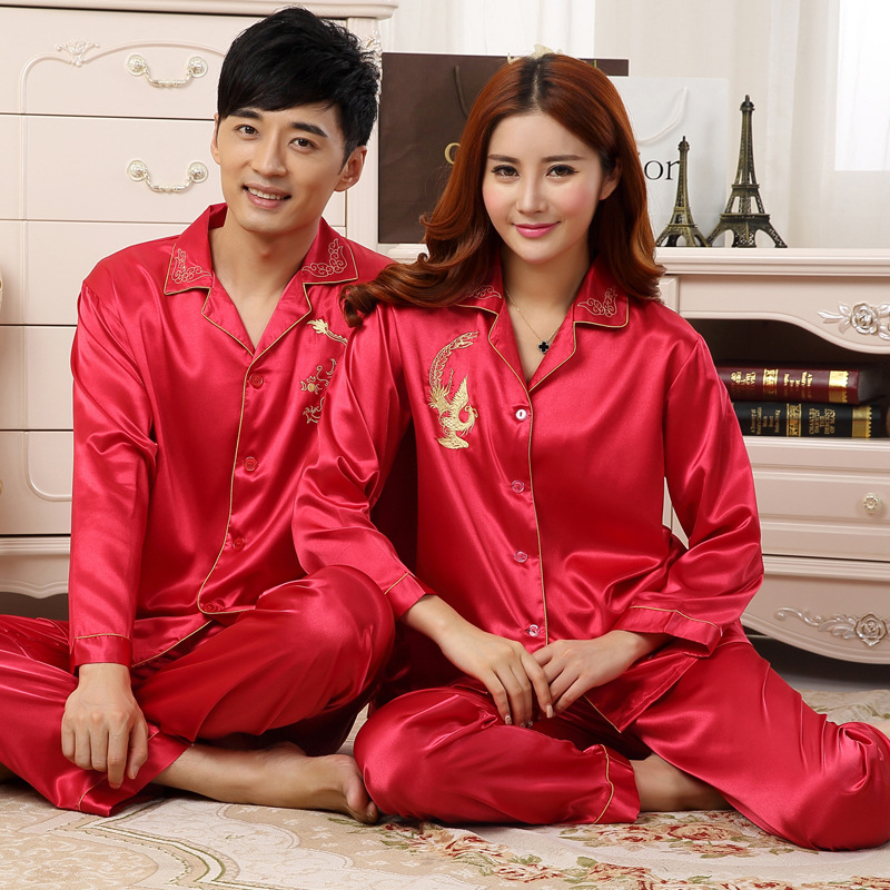Summer Autumn New Couple Silk Pajamas Sexy Lovers' Silk Pajamas Long Sleeved Pajama Set Married Men Women Sleepwear Loungewear