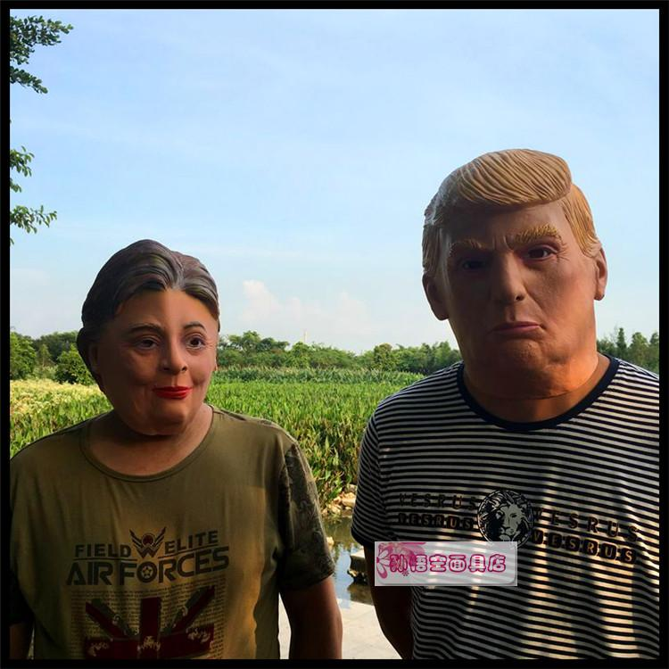 2016 the U.S. presidential election, Trump Hilary figure of a popular figure headgear spoof mask image
