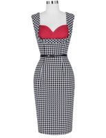 Sexy Dress Grid Pencil Retro Vintage Party Sleeveless Dots Swallow Bodycon Dress