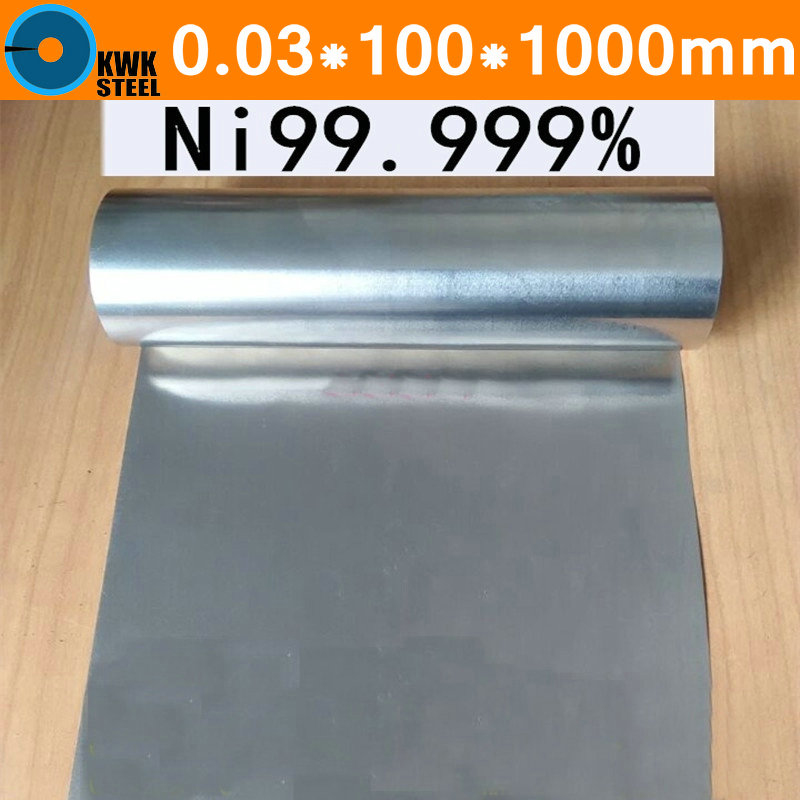0.03*100*1000mm Pure Nickel Strip Thin Wall Thickness Ni Coil 99.99% Experiment Research Free Shipping