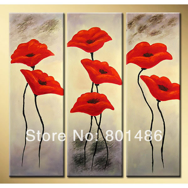 Free shipping! New handmade poppies red flowers wall art painting 3 ...