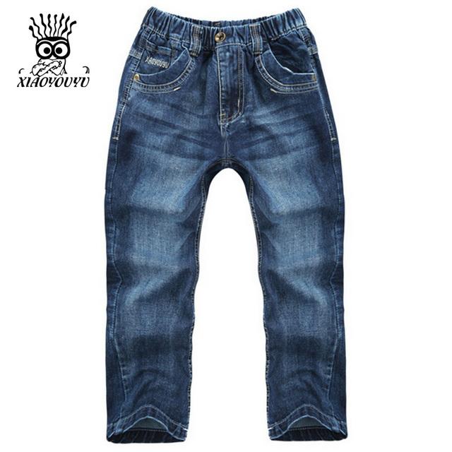 XIAOYOUYU Tamanho 120-160 cm Crianças Casuais Calças Jeans Novas Crianças Chegada Jeans de Alta Qualidade Em Linha Reta Estilo Menino Longo calças de brim