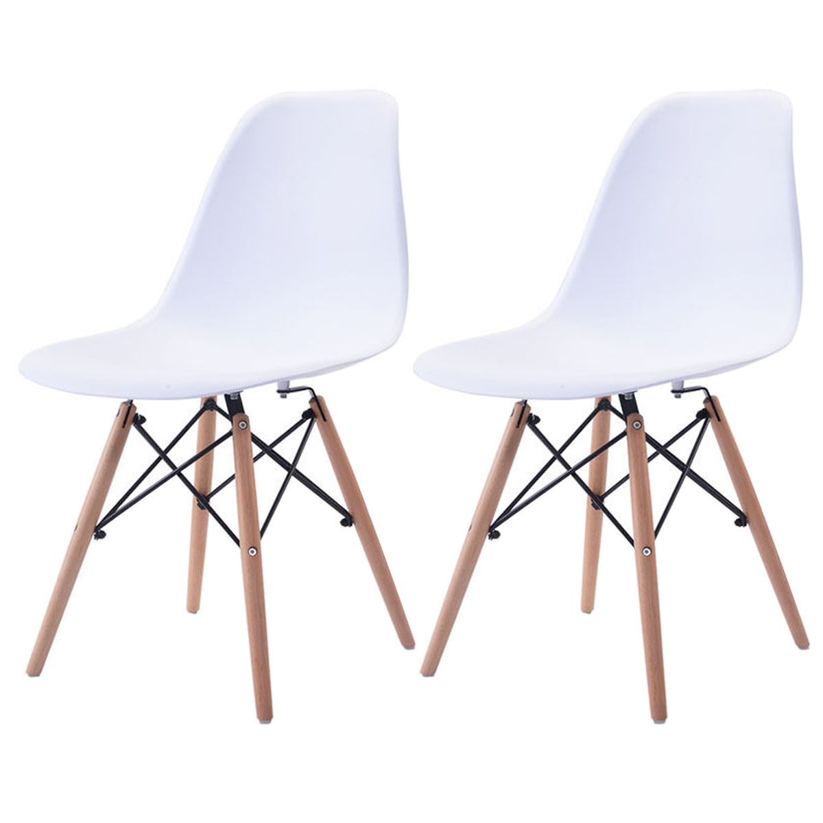 Giantex Set of 2pcs Mid Century ABS Dining Chair Modern Wood Legs Side Chairs White Living Room Furniture HW54094WH mid century presidential solid oak wood dining chair armchair upholstery seat dining room furniture modern arm chair for home