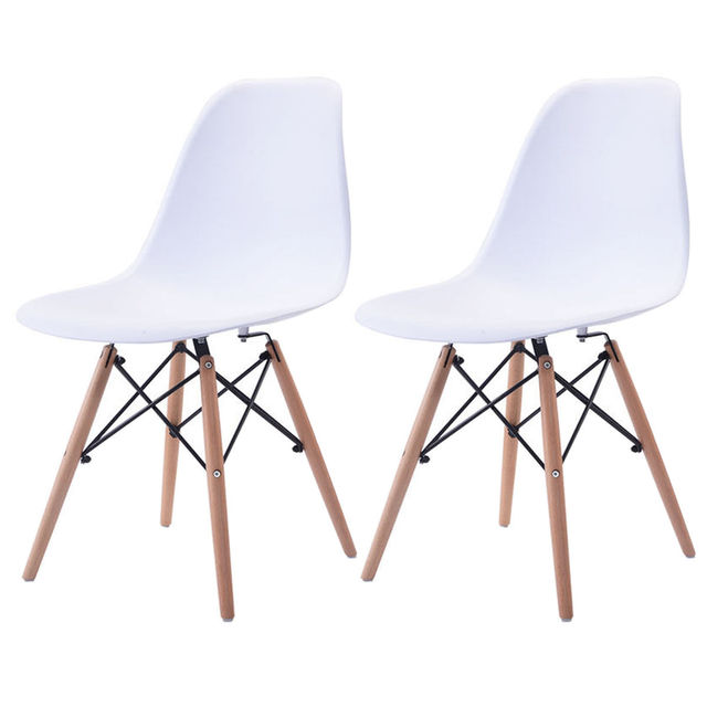 Giantex Set Of 2pcs Mid Century Dining Chair Modern Wood Legs Side Chairs White Living Room