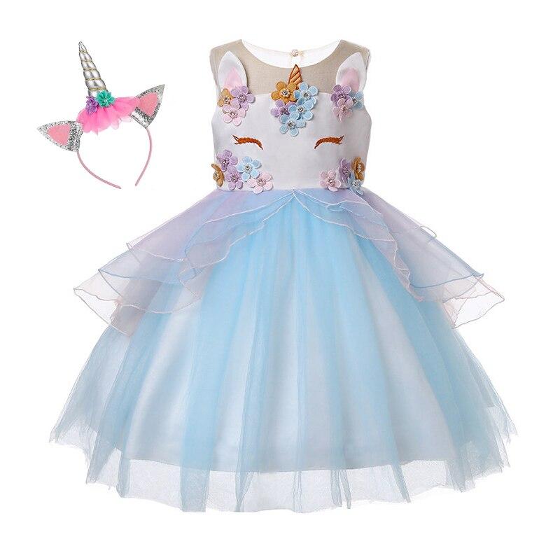 1-12Y Flower Girls Unicorn Tutu Dress Pastel Pink Princess Girls Birthday Party Dress Children Kids Halloween Unicorn Costume