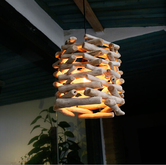 Modern Chinese original ecology style retro wood art E27 Pendant Lights for cafe&bar&stairs&porch&corridor&agritainment LDK019
