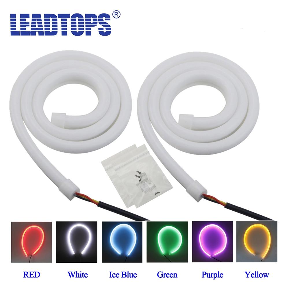 LEADTOPS 2ks / Lot 60cm auto LED Universal Flexibilní DRL Dvoubarevná LED dioda pro denní svícení s otočením Single Light CE
