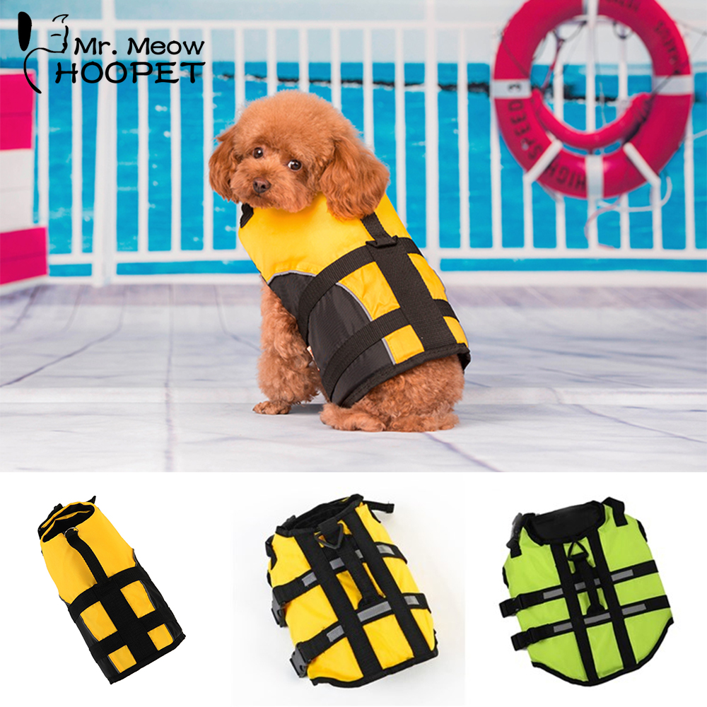 Hoopet Pet Dog Life Jacket Safety Clothes Life Vest Collar Harness Saver Pet Dog Swimming Preserver Clothes Summer Swimwear