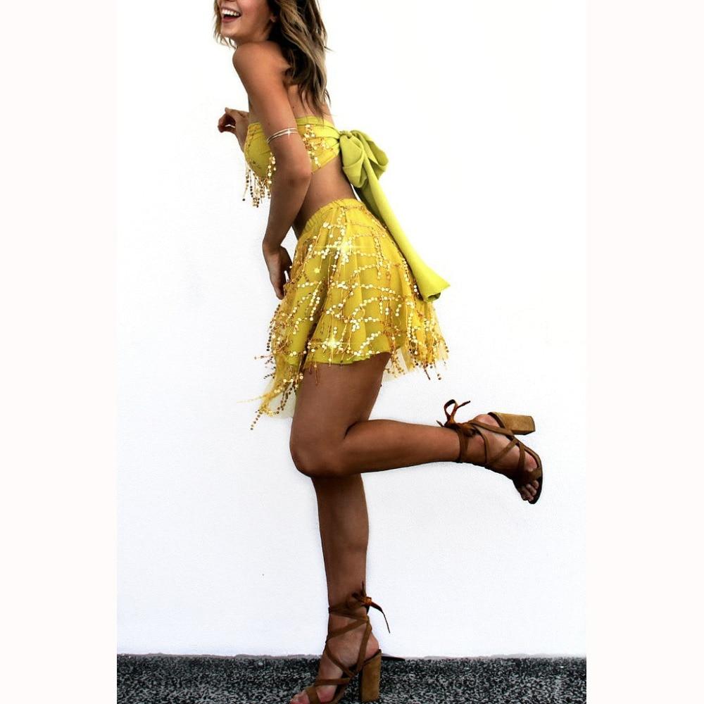 2016 Summer Women Sequin Dress Yellow Light Blue Beige Sparkling Dress  Summer Solid Strapless 2 Piece Set Dress -in Dresses from Women s Clothing  on ... f3806fa117b1
