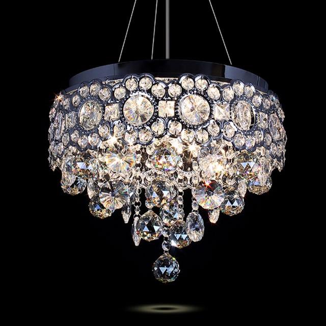 Modern Led Ceiling Chandelier Lustre Crystal Pendant Lamp Living Room Decoration Lighting Fixture Round Drop Light 110V-240V