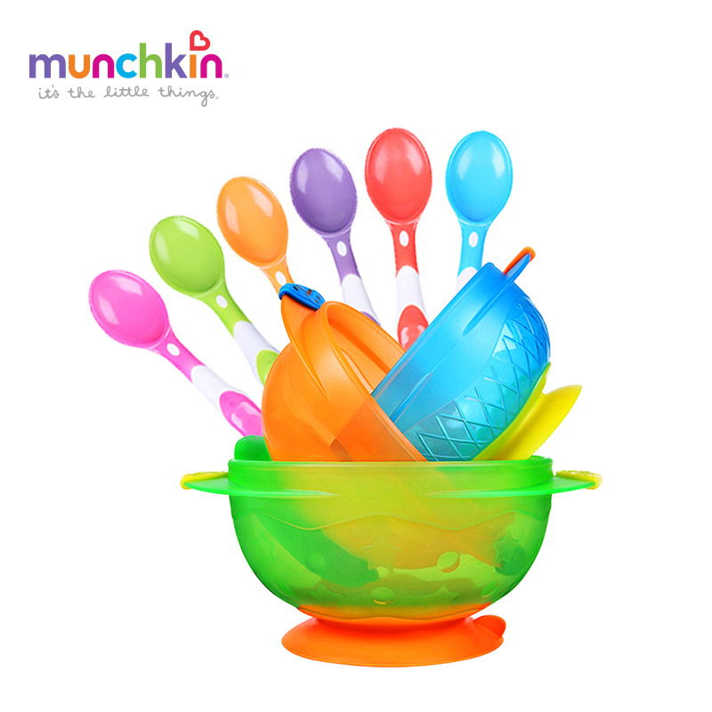 Munchkin baby tableware set  free shipping Stay Put Suction Bowl 3 Count  silicone spoon 6 Count new children tableware bpa free plastic baby food set kids dinnerware plate bowl cup fork spoon infant dishes for toddlers baby
