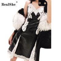 RealShe Leather Patchwork Lace Women Dress Sexy Sleeveless Bodycon Mini Dress Ladies Sexy V Neck Strap