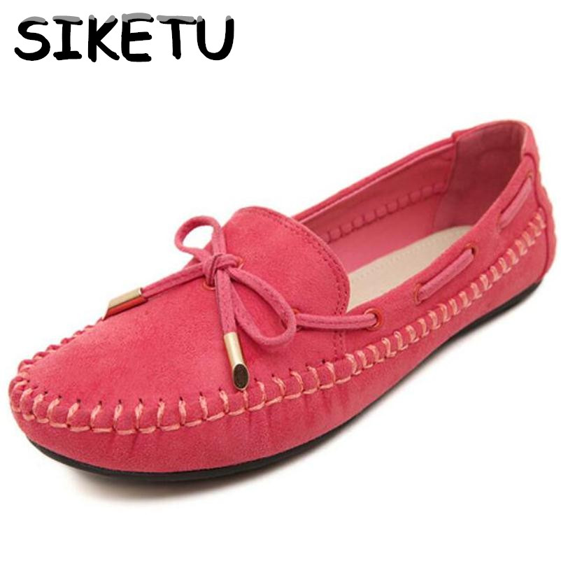 SIKETU 2017 Spring Comfortable Flats Shoes Women Casual Flat Heel Shoes Bow Knot Round Toe Candy Color Loafer Shoes Plus Size 2017 womens spring shoes casual flock pointed toe narrow band string bead ballet flats flat shoes cover heel women flats shoes