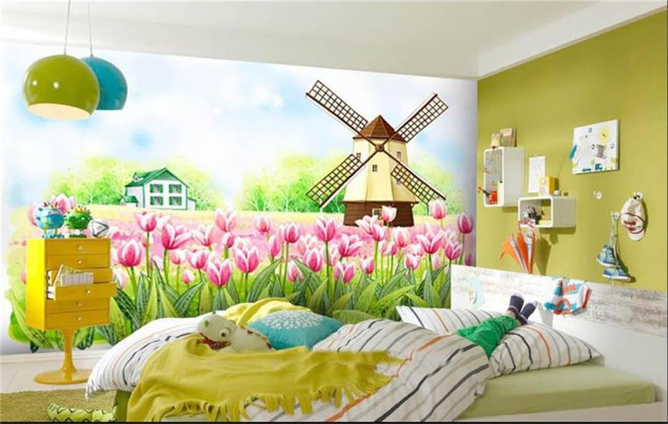 background windmill 3d painting tulips rural mural woven landscape non custom wallpapers