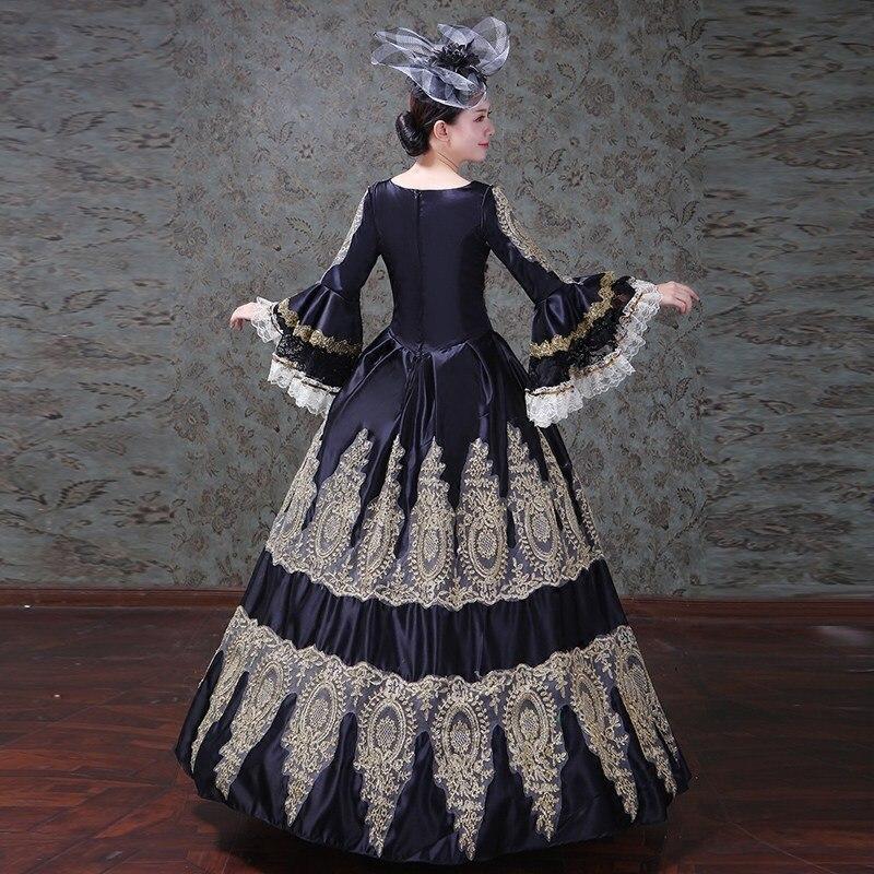 Brand New 2018 Black Satin V-Neck Gold Appliques Long Sleeve Marie  Antoinette Long Princess Dresses Evening Party Stage Dresses d9dcf8c01