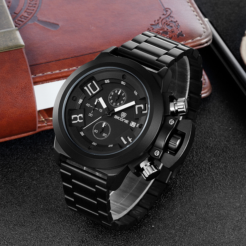 Skone Watches Men Luxury Brand Big Dial Famous Fashion Quartz Watch Military Sports Wristwatch Stainless Steel Male Army Clock oulm men dual movt big dial japan luxury military watches men stainless steel strap wristwatches male golden clock