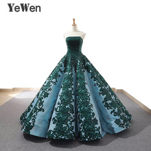 luxury Strapless Green Evening dress 2020 Long Lace Prom Formal Party Dress Ball Gown abendkleider Christmas dress