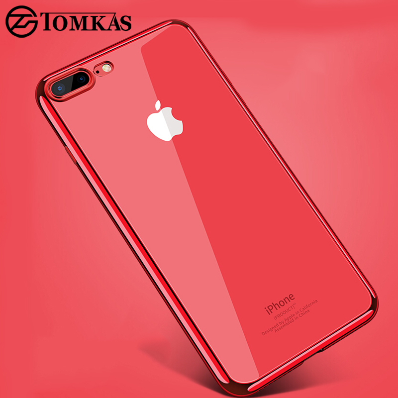 TOMKAS Transparent Case For iPhone 7 8 Plus Cases Silicone Cover Plating TPU Phone Case For iPhone 8 7 Plus Cases Conque