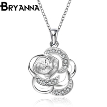 BRYANNA trendy cute flower Pendant necklaces for women fashion jewelry mujer 925 stamp Zircon Silver Plated love Necklace N2690