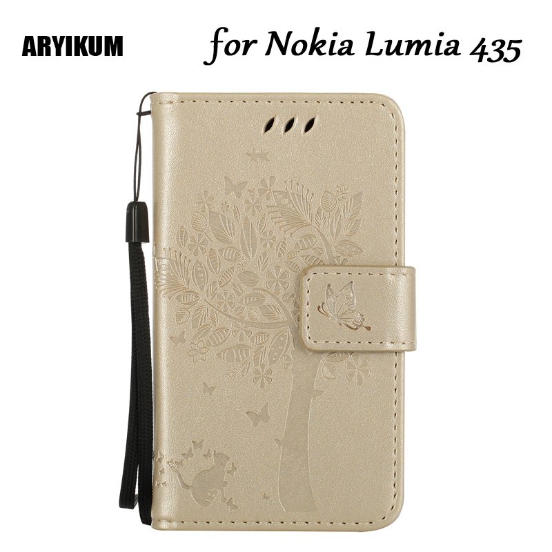 ARYIKUM Wallet Case For Lumia 435 Cover Flip Stand PU Leather Case For Microsoft Nokia Lumia 435 Dual Sim Mobile Phone Cases