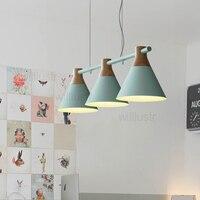 Willlustr Macaron Color 3 Heads Suspension Lamp Colorful Shade Iron Wood Lamp Hang Lighting Living Dinning