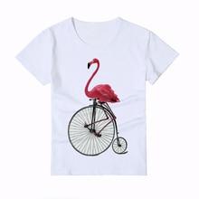 재미 있은 플라밍고 사이클리스트 인쇄 어린이 t 셔츠 여름 3D 멋진 동물 길어야 소년 / 소녀 T 셔츠 슈퍼 패션 아기 새로운 티셔츠 Y4-1
