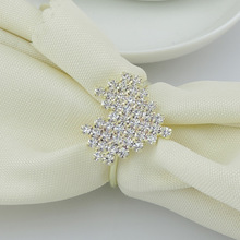 6PCS gold napkin ring four-prong diamond silver-plated buckle
