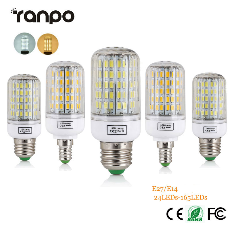 1PCS E27 E14 220V LED Lamps SMD 5730 Corn Light LED Bulb 24-165LEDs Lamparas Chandelier Bombillas Candle Lighting for Home