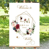 free shipping 1 pcs custom logo picture Wedding Welcome board business party sign Welcome card for wedding pink white yellow red