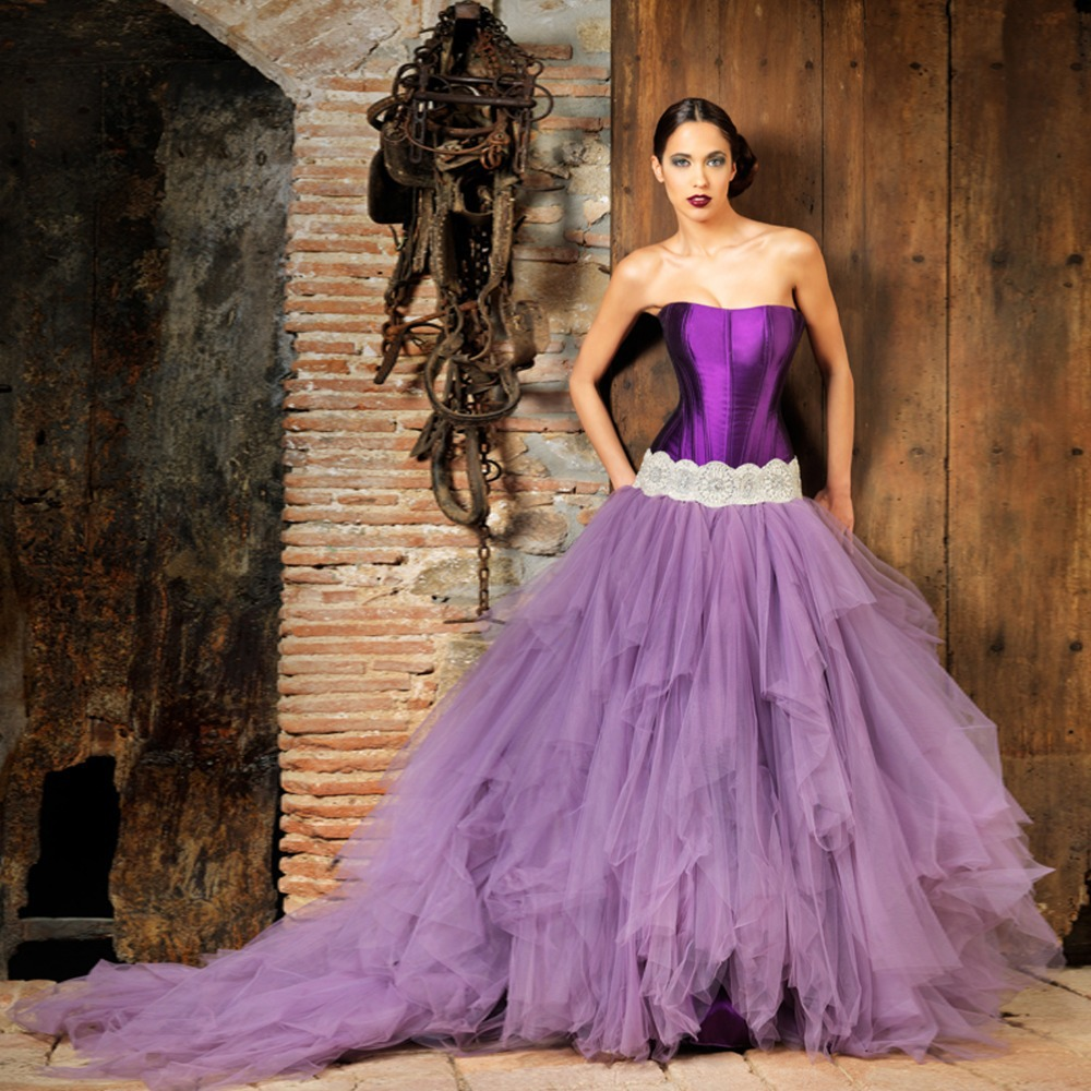 Strapless Ball Gown Purple Wedding Dresses-in Wedding Dresses from ...
