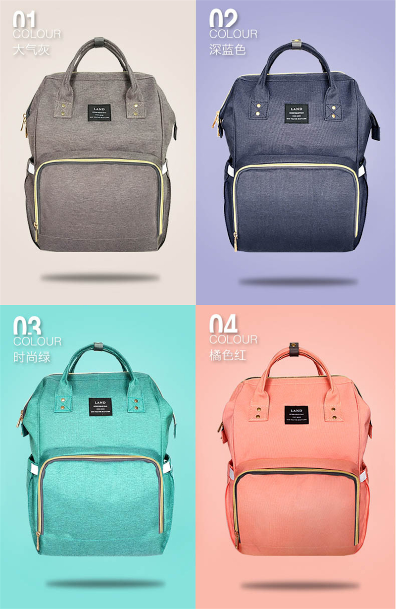 HTB18yIYuA9WBuNjSspeq6yz5VXal Authentic LAND Mommy Diaper Bags Mother Large Capacity Travel Nappy Backpacks with anti-loss zipper Baby Nursing Bags dropship