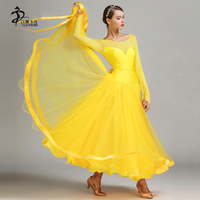 Yello Red Latin Ballroom Dresses Dance Women Competition Dress Puff Skirt For Waltz Long Sleeves Dancing Clothes
