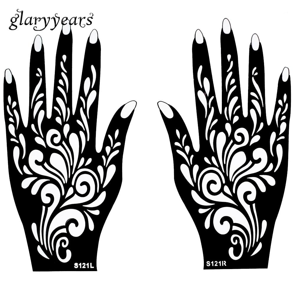 1 Pair Fake Black Body Hand Art Waterproof Temporary Henna Tattoo