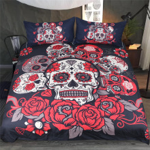 3pcs Flirtatious Rose Sugar Skull Bedding Sets Duvet Cover with Pillowcases Floral Printed Red Gothic Home Textiles Bedclothes E
