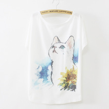 Hand Painted Kitten Printing 2017 Summer Style Women Batwing Short Sleeve White T shirt Cotton Casual