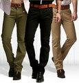 Nova chegada magro calça casual dos homens Marca de Moda vestido de terno calças de algodão calças retas magros dos homens do exército khaki preto tamanho 38
