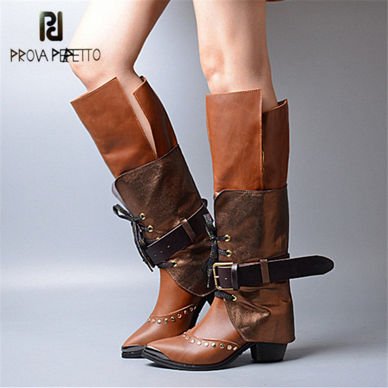 Prova Perfetto Fashion Women Knee High Boots Pointed Toe Riding Boots High Heel Shoes Woman Straps Lace Up Winter Warm Boot women kid suede lace up comfortable square heel knee high boots fashion pointed toe keep warm winter shoes black khaki