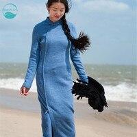LinenAll Original Design Women S Blue Black 100 Cashmere Knitted Elegant Classic Brief Cheongsam Dress Female