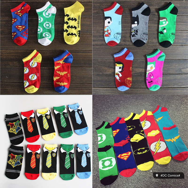 10pcs=5pair=1lot Cartoon Batman Superheroes Fashion Cotton Socks Male Female Short Unisex Ankle Sock Slippers
