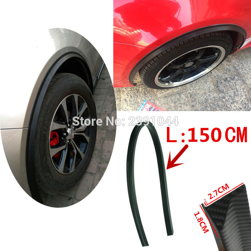 2PCs 150cm universal carbon fiber car fender flare wheel eyebrow protector wheel Arch trim strip Color: Black/Carbon fiber check 1 5m carbon fiber high strength wheel eyebrow arch decor strip car tires eyebrow for round rubber car protect sticke