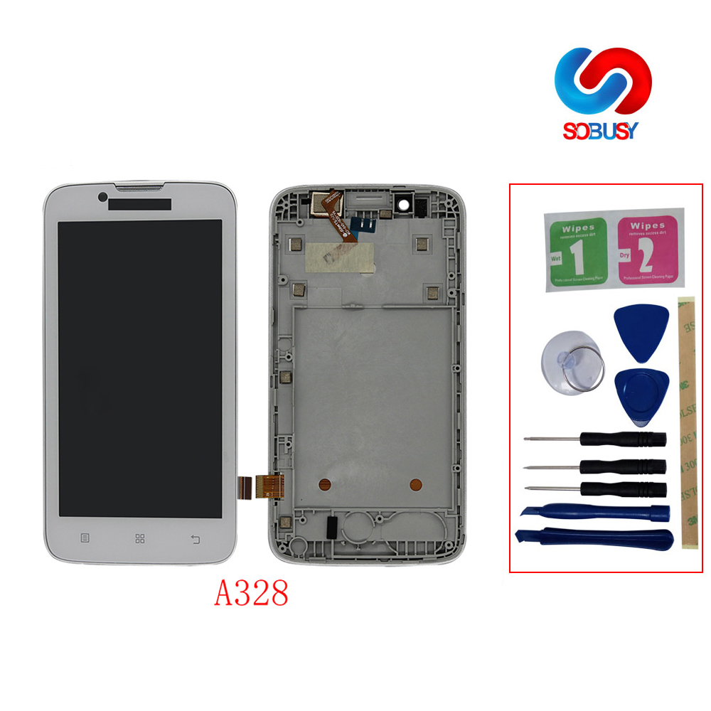 <font><b>4.5</b></font> <font><b>Inch</b></font> 100% tested <font><b>LCD</b></font> Display For Lenovo A328 Phone <font><b>LCD</b></font> <font><b>Touch</b></font> Panel Screen Digitizer Assembly <font><b>with</b></font> Frame Replace Repair Parts image